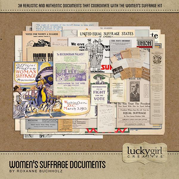 Womens Suffrage Documents Digital Art - Digital Scrapbooking Kits