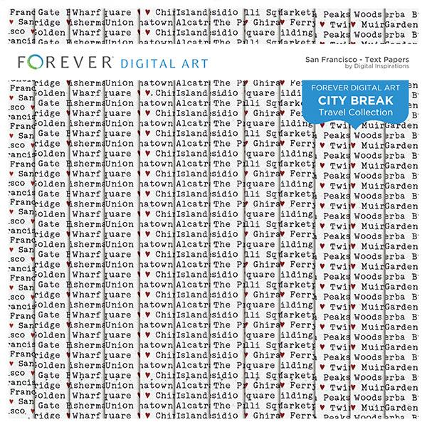 City Break - San Francisco - Text Papers Digital Art - Digital Scrapbooking Kits