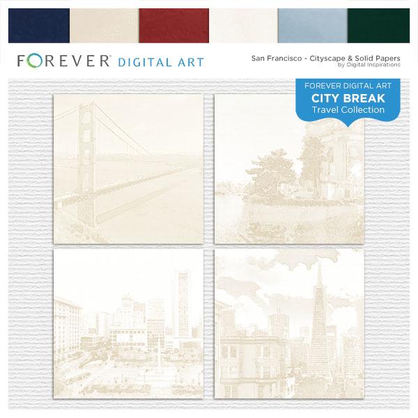 City Break - San Francisco - Cityscape & Solid Papers Digital Art - Digital Scrapbooking Kits