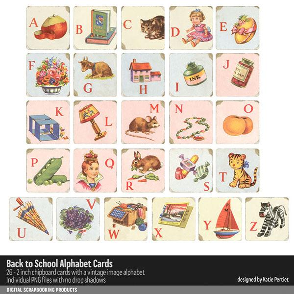 Back to School Alphabet Cards Digital Art - Digital Scrapbooking Kits