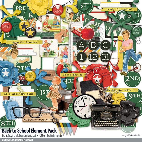 Back to School Element Pack Digital Art - Digital Scrapbooking Kits