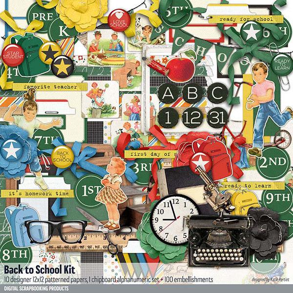 Back to School Scrapbook Kit Digital Art - Digital Scrapbooking Kits