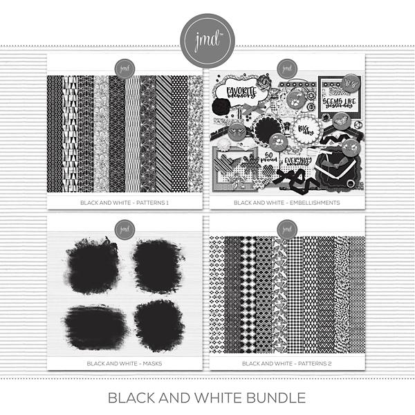 Black and White Bundle Digital Art - Digital Scrapbooking Kits