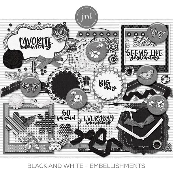 Black and White - Embellishments Digital Art - Digital Scrapbooking Kits