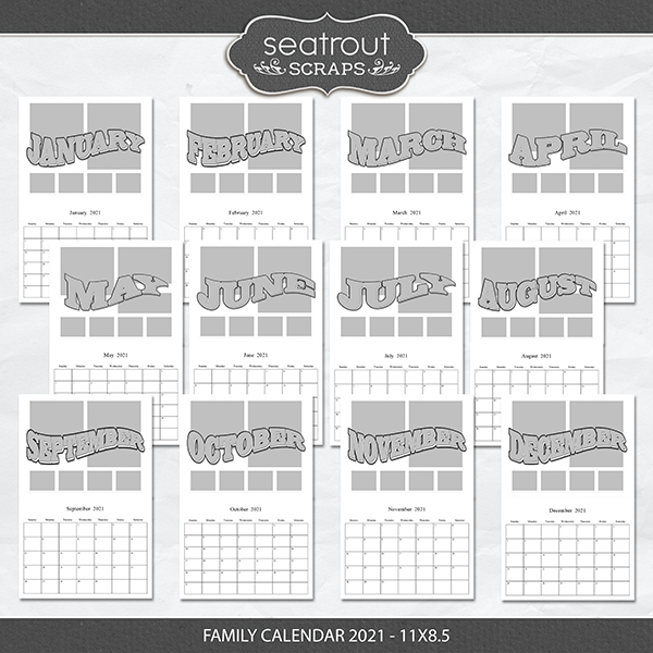 Family Calendar 2021 - 11x8.5 Digital Art - Digital Scrapbooking Kits