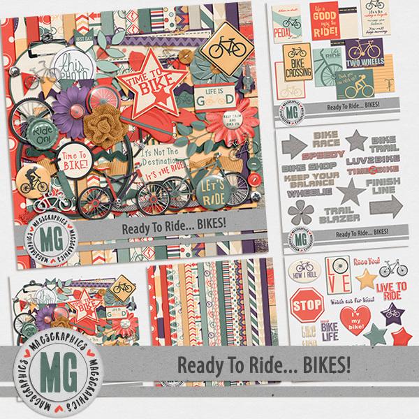 Ready to Ride Bikes Bundle Digital Art - Digital Scrapbooking Kits