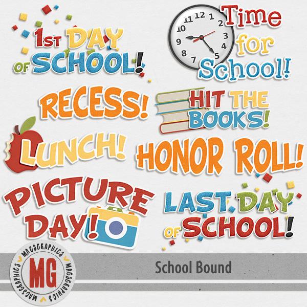 School Bound Word Art Digital Art - Digital Scrapbooking Kits