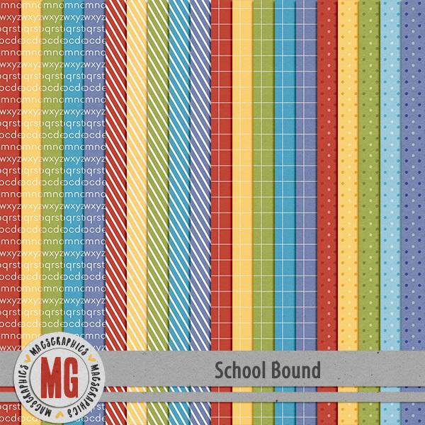 School Bound Extra Papers Digital Art - Digital Scrapbooking Kits