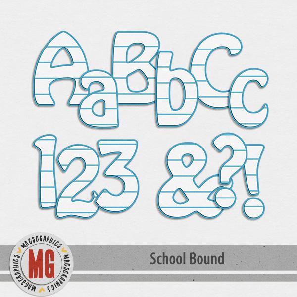 School Bound Alpha Digital Art - Digital Scrapbooking Kits