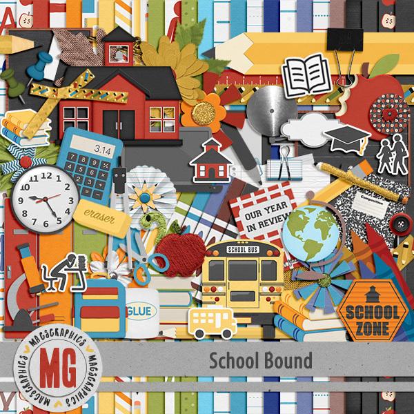 School Bound Kit Digital Art - Digital Scrapbooking Kits