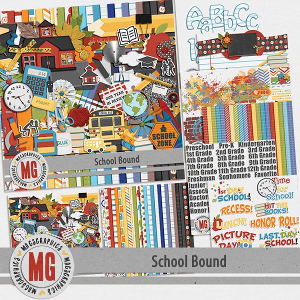 School Bound Bundle Digital Art - Digital Scrapbooking Kits