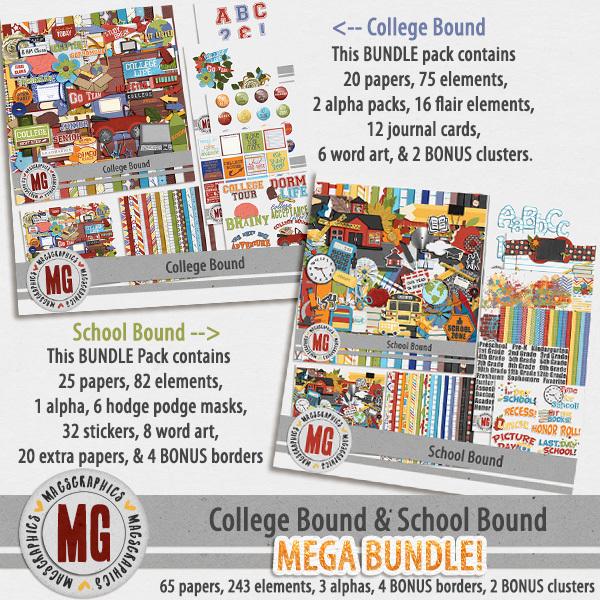 College Bound & School Bound MEGA Bundle Digital Art - Digital Scrapbooking Kits