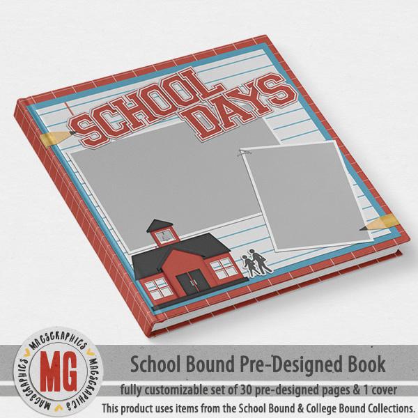 School Bound Pre-Designed Book Digital Art - Digital Scrapbooking Kits