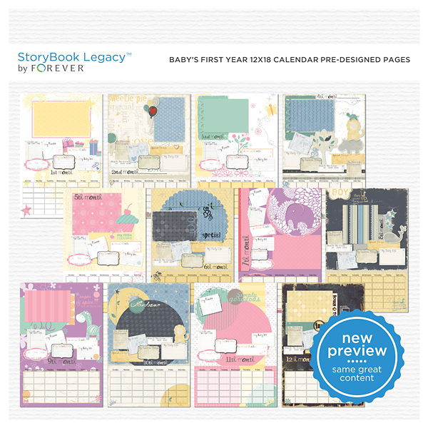 Baby's First Year 12x18 Calendar Predesigned Pages Digital Art - Digital Scrapbooking Kits