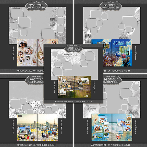 Artistic License - On the Double Bonus Bundle 1 - 8.5x11 Digital Art - Digital Scrapbooking Kits
