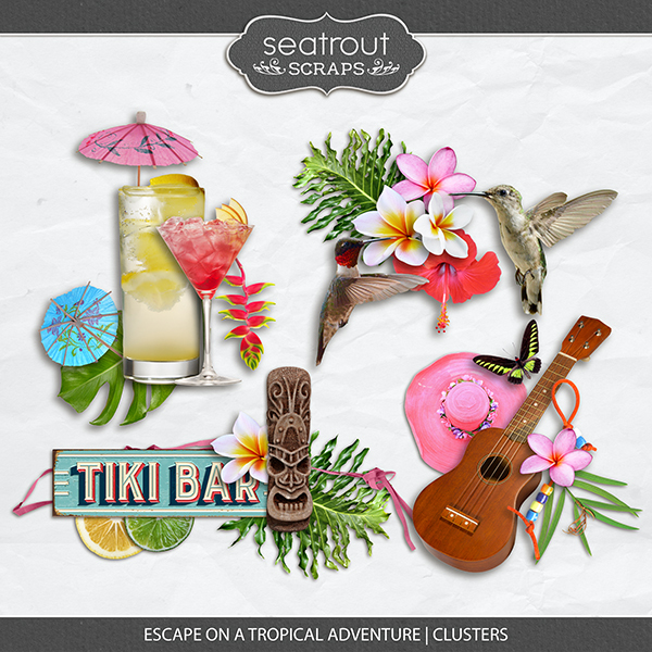 Escape on a Tropical Adventure - Clusters Digital Art - Digital Scrapbooking Kits