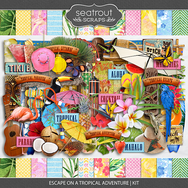 Escape on a Tropical Adventure Kit Digital Art - Digital Scrapbooking Kits