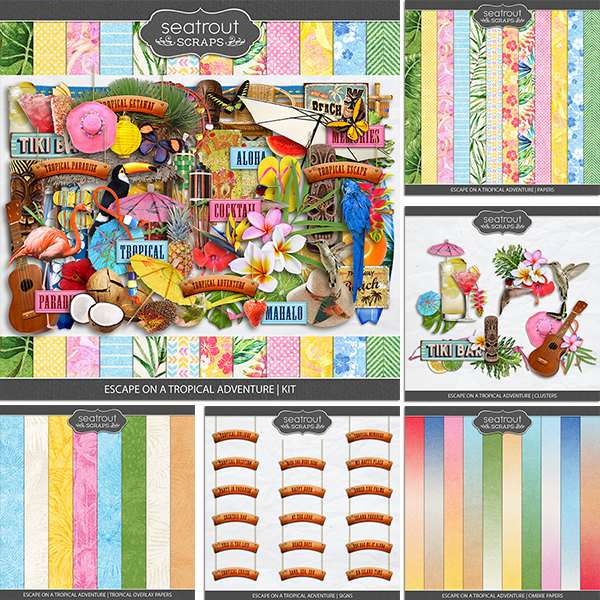 Escape on a Tropical Adventure Bundle Digital Art - Digital Scrapbooking Kits
