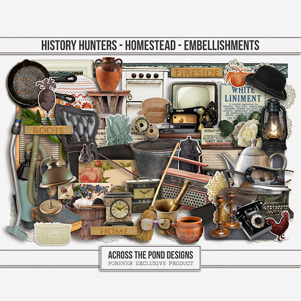 History Hunters - Homestead - Embellishments Digital Art - Digital Scrapbooking Kits