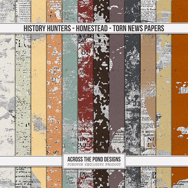 History Hunters - Homestead - Torn News Papers Digital Art - Digital Scrapbooking Kits