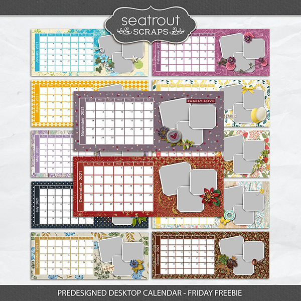 Predesigned Desktop Calendar - Friday Freebie Digital Art - Digital Scrapbooking Kits