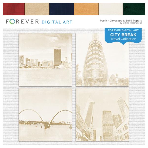 City Break - Perth - Cityscape & Solid Papers Digital Art - Digital Scrapbooking Kits
