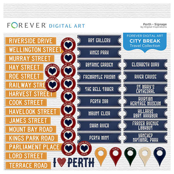City Break - Perth - Signage Digital Art - Digital Scrapbooking Kits