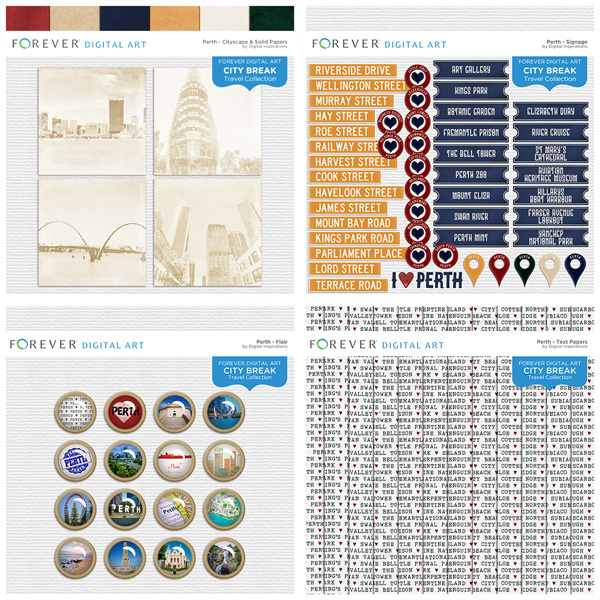 City Break - Perth - BUNDLE Digital Art - Digital Scrapbooking Kits