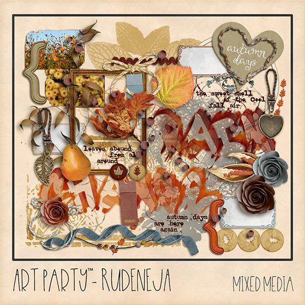 Rudeneja Mixed Media Embellishments Digital Art - Digital Scrapbooking Kits