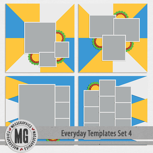 Everyday Templates Set 4 Digital Art - Digital Scrapbooking Kits