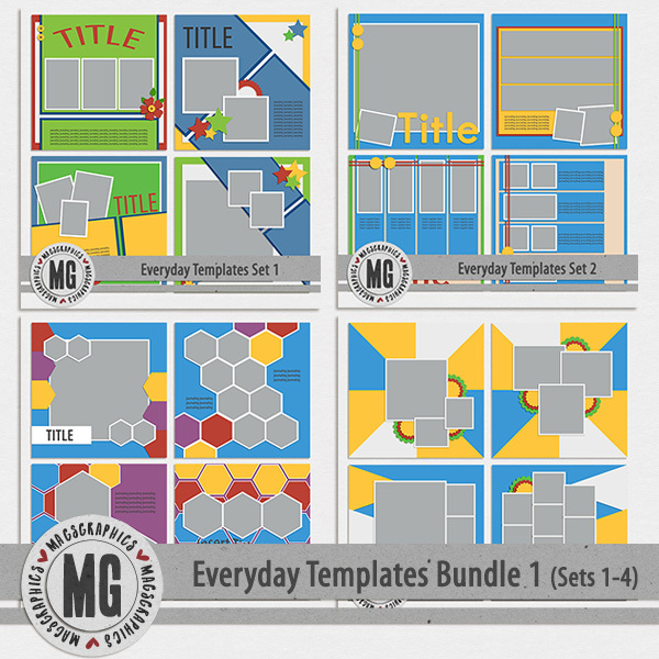 Everyday Templates Bundle 1 Digital Art - Digital Scrapbooking Kits
