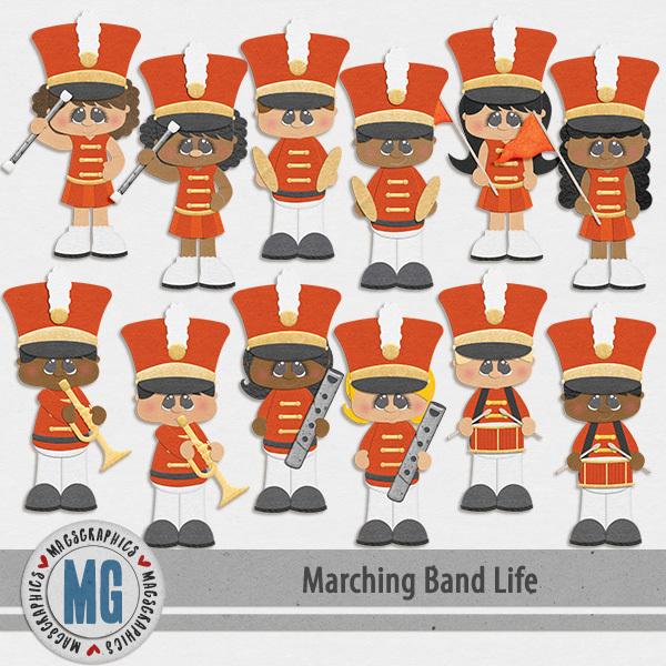 Marching Band Life Orange Band Digital Art - Digital Scrapbooking Kits