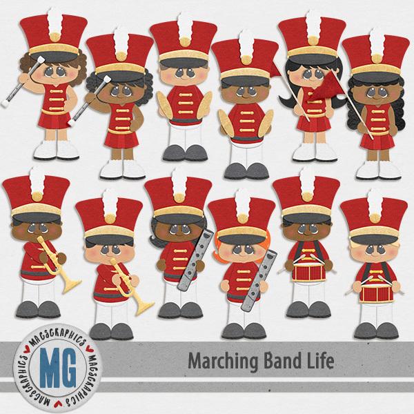 Marching Band Life Red Band Digital Art - Digital Scrapbooking Kits