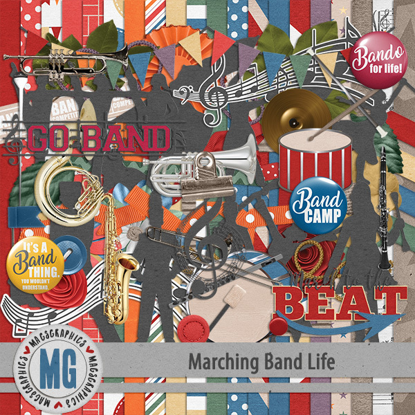Marching Band Life Kit Digital Art - Digital Scrapbooking Kits
