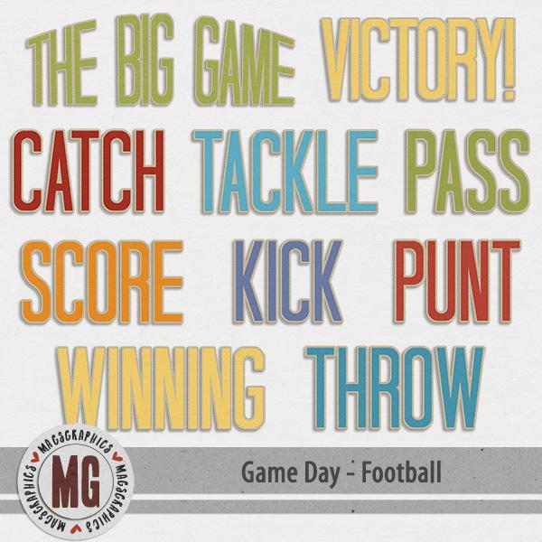 Game Day Football Titles Digital Art - Digital Scrapbooking Kits
