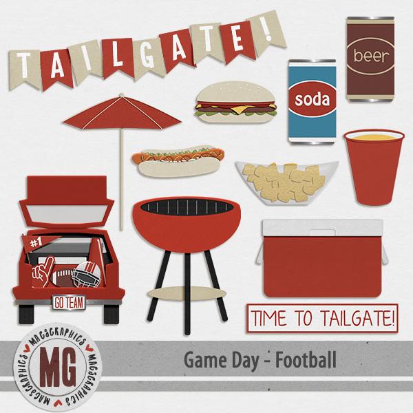 Game Day Football Tailgate Pack Digital Art - Digital Scrapbooking Kits
