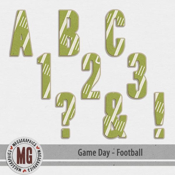 Game Day Football Alpha Digital Art - Digital Scrapbooking Kits