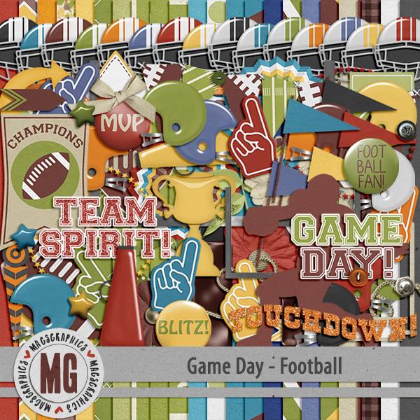 Game Day Football Kit Digital Art - Digital Scrapbooking Kits