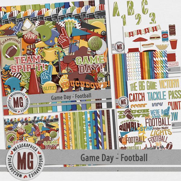 Game Day Football Bundle Digital Art - Digital Scrapbooking Kits