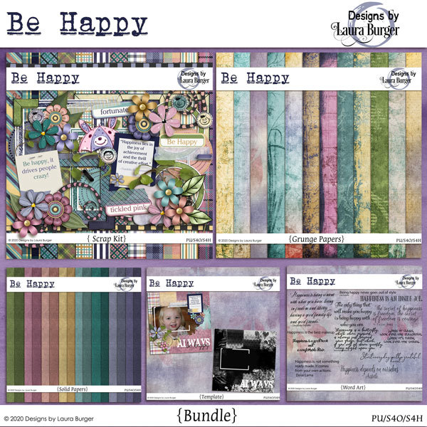 Be Happy Bundle Digital Art - Digital Scrapbooking Kits