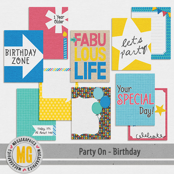 Party On Birthday Journal Cards Digital Art - Digital Scrapbooking Kits