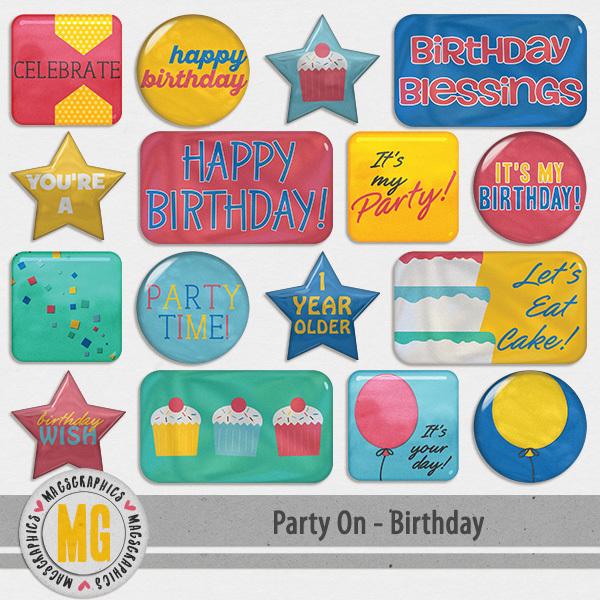 Party On Birthday Flair Digital Art - Digital Scrapbooking Kits