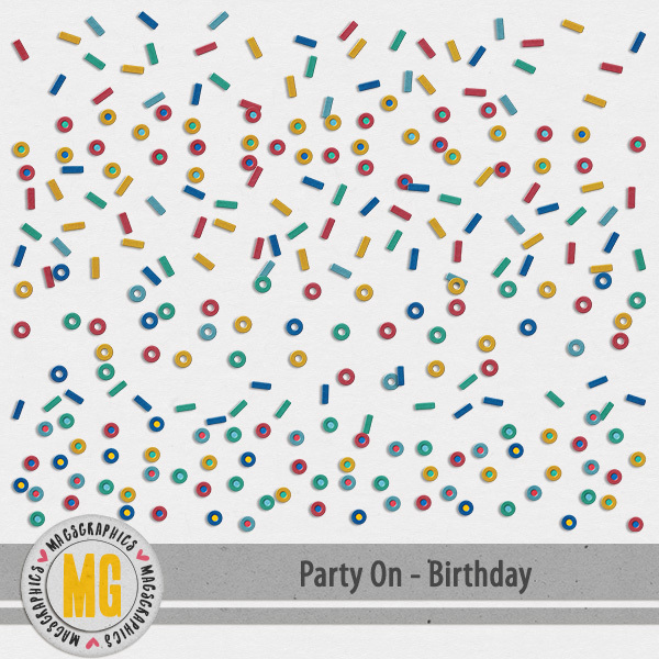 Party On Birthday Borders Digital Art - Digital Scrapbooking Kits