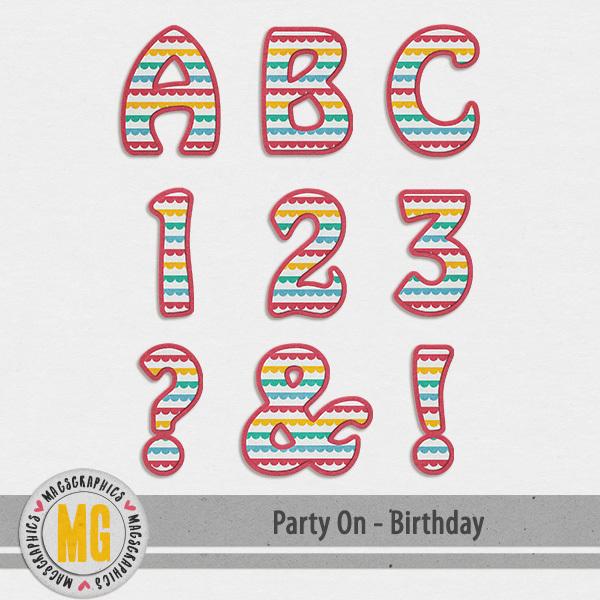 Party On Birthday Alpha Digital Art - Digital Scrapbooking Kits