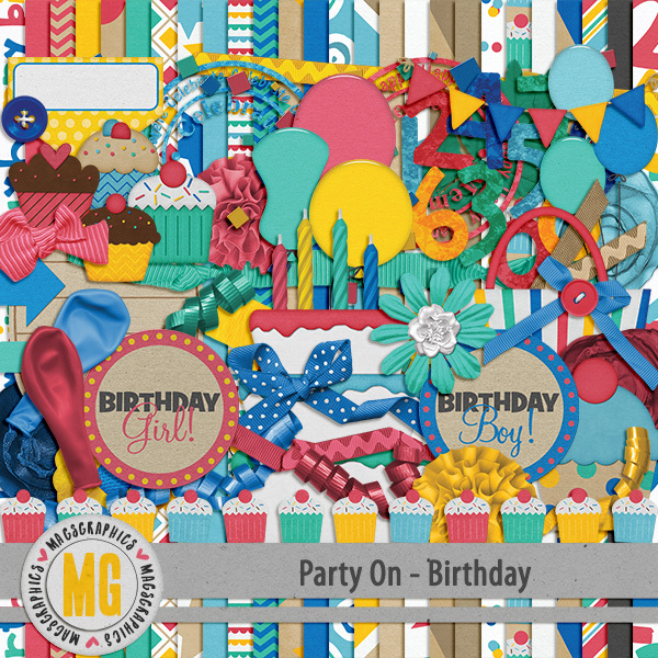 Party On Birthday Kit Digital Art - Digital Scrapbooking Kits