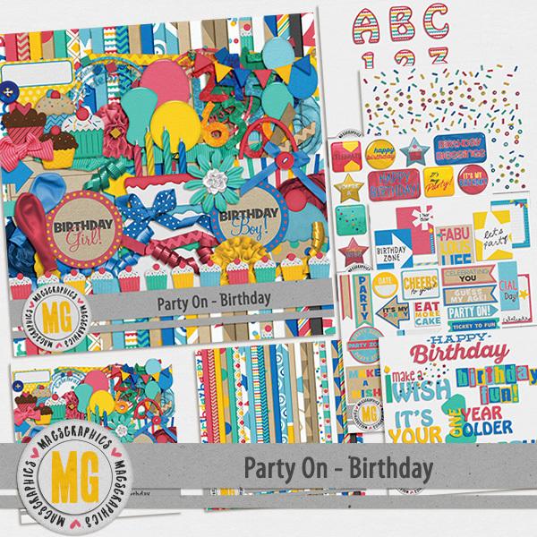Party On Birthday Bundle Digital Art - Digital Scrapbooking Kits