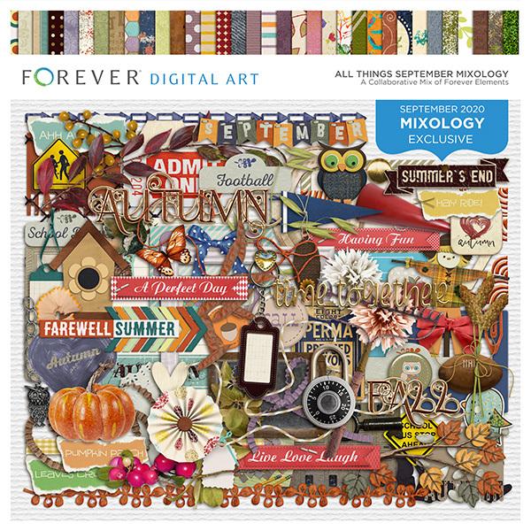 All Things September Mixology Digital Art - Digital Scrapbooking Kits