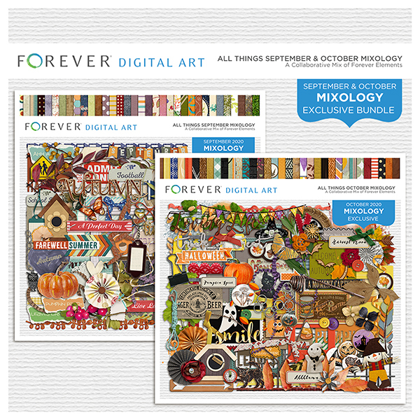 All Things September & October Mixology Bundle Digital Art - Digital Scrapbooking Kits