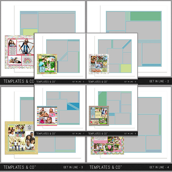 Get In Line 1-8 Digital Art - Digital Scrapbooking Kits
