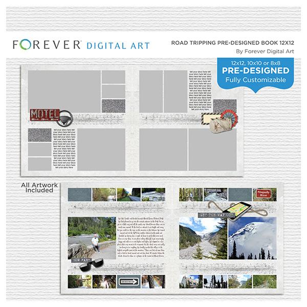Road Tripping Pre-designed Book 12x12 Digital Art - Digital Scrapbooking Kits